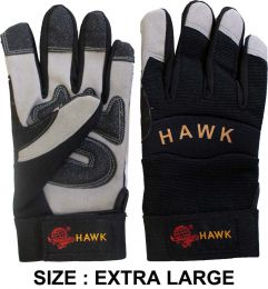 Men's  Synthetic Leather Sportman's Gloves with Padded Palms in Gray & Black