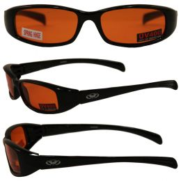 New Attitude Motorcycle Glasses with Orange Lenses and Black Frame with Flames