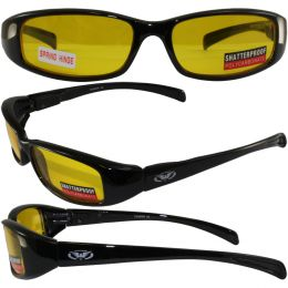 New Attitude Motorcycle Glasses with Yellow Lenses and Black Frame with Flames