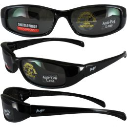 MotoFrames MF Bad Attitude Motorcycle Sunglasses Black Frames Super Dark Lens