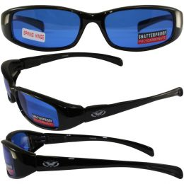 New Attitude Motorcycle Glasses with Blue Lenses and Black Frame